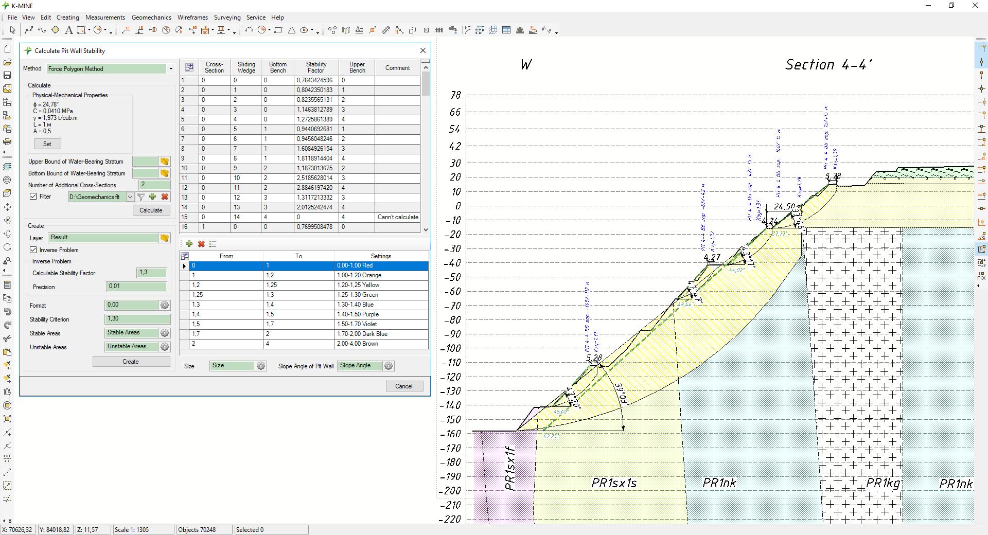 La solución de software para calcular la estabilidad de las paredes de tajo y zonas de descarga