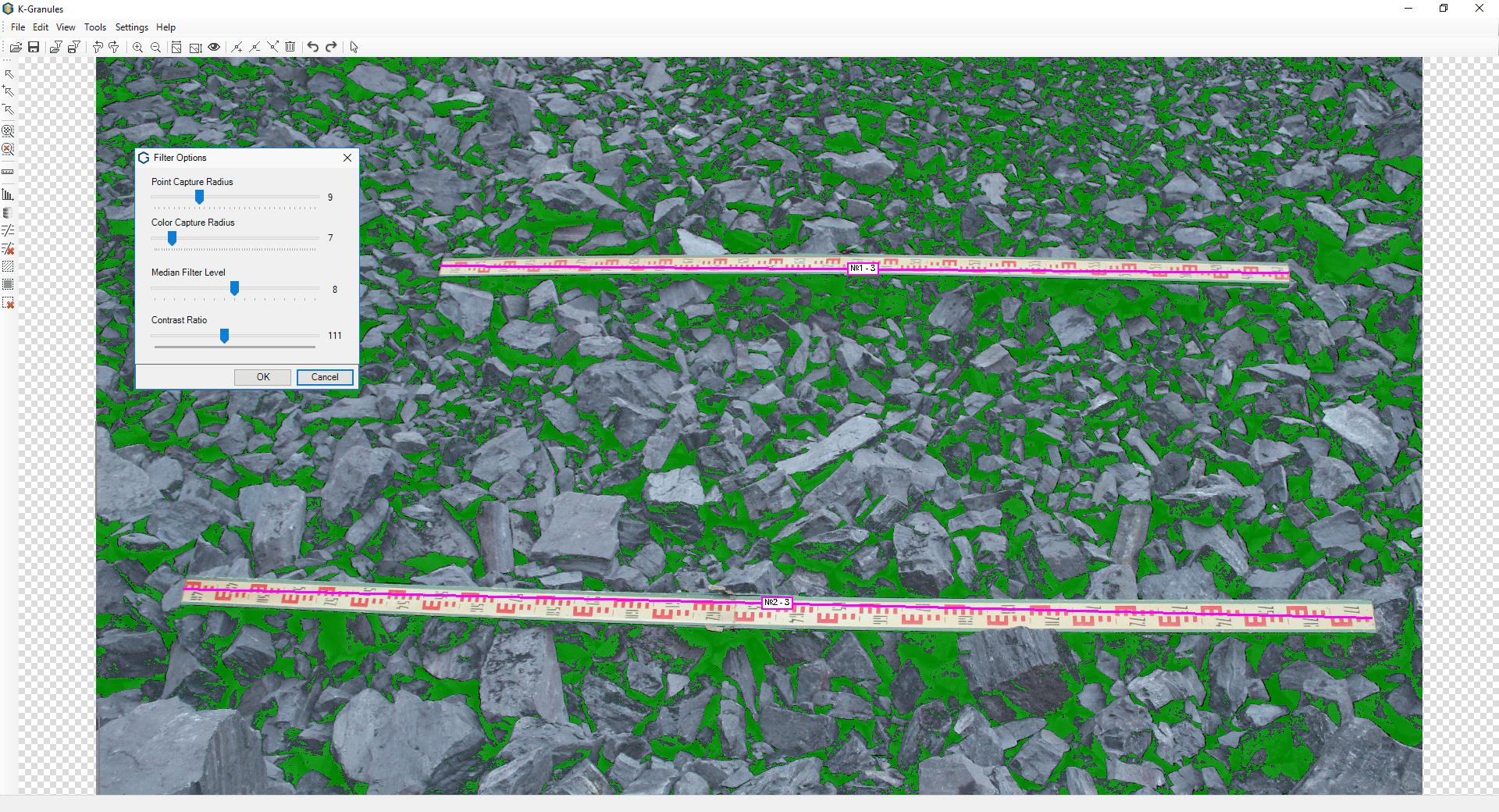 La solución de software para el análisis del tamaño de la fragmentación de rocas