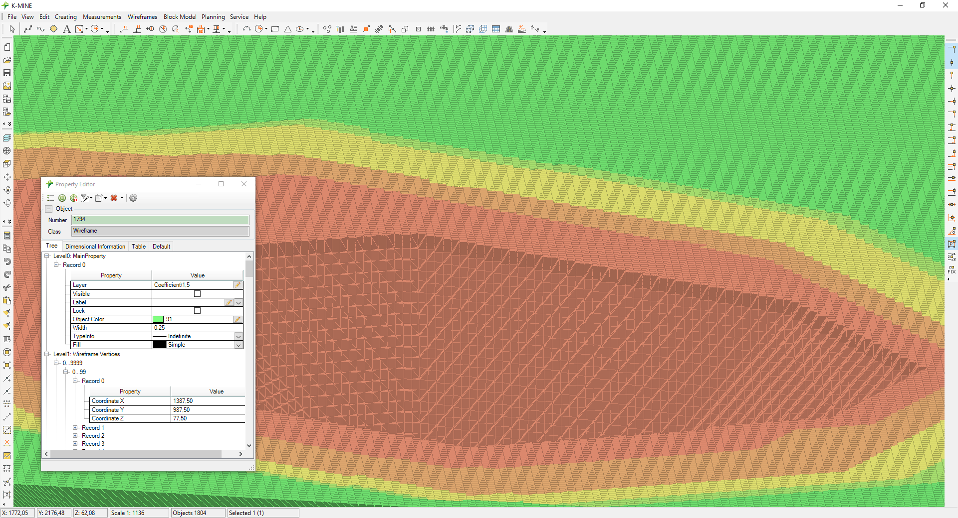 Visualization of open pit mining for calculated periods using wireframe surfaces
