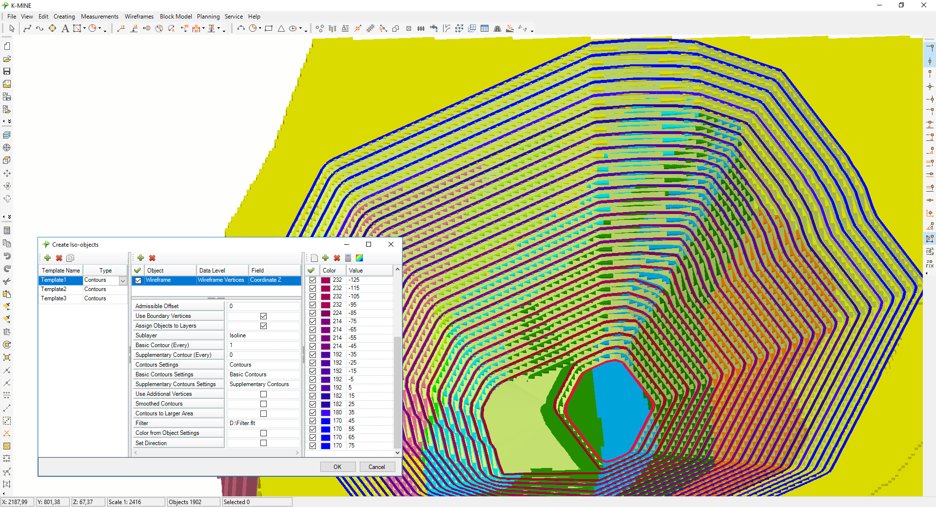 Construction of final pit along levels Combined visualization of calculation results