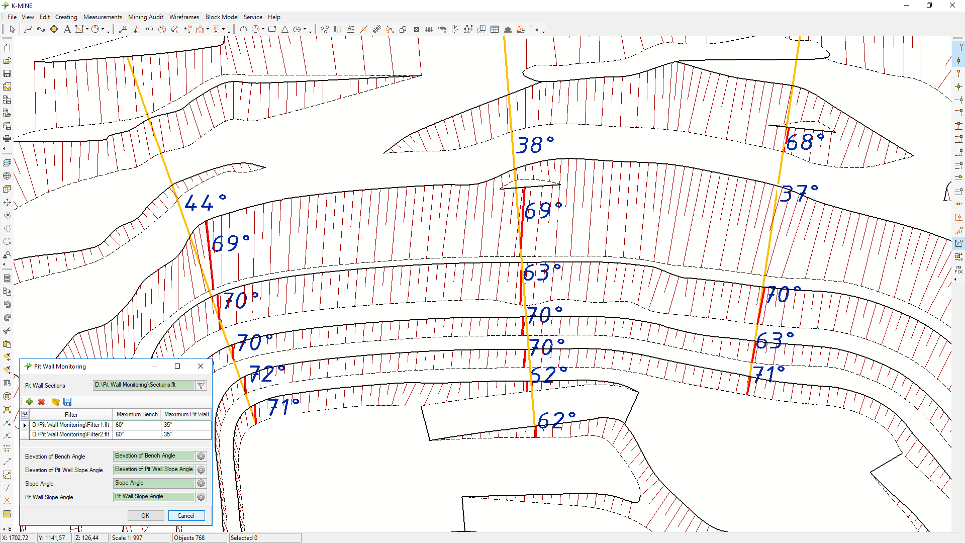 Visualizing exceeding values on slope angles of benches and pit walls